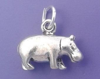 HIPPO Charm .925 Sterling Silver Hippopotamus Pendant - sc263