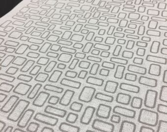 mesh printed in cloud - hand screen printed cotton or linen fabric panel