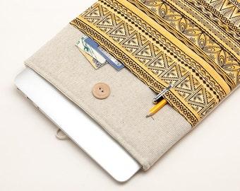 30% OFF SALE White Linen MacBook 13 Case. Case for MacBook 13 Pro (non retina). Sleeve for MacBook 13 Pro with tribal print pocket