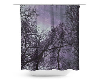 Shower Curtain - Trees Photography - Purple Black Decor - Purple Sky Photo - Star Photograph - Bathroom Decor - Celestial Art - Gothic Decor
