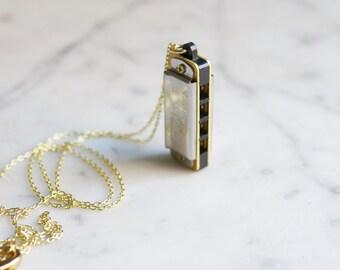 Miniature Harmonica Necklace Swan Mini Working Musical Instrument