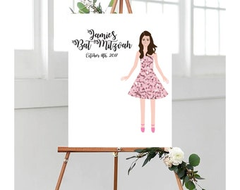Illustrated Bat/Bar Mitzvah Sign In Board - Personalized - Custom - Designed - Guestbooks - Gift - Illustrated - Party Favor - Decor