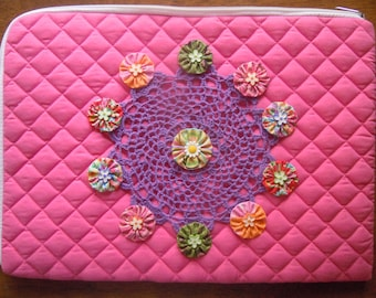 SALE - Hot Pink Quilted Zippered Laptop Case With Purple Lace and Buttons
