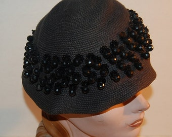 1930s Cloche Knit Beaded Black Sequin Vintage Hat by Suzy