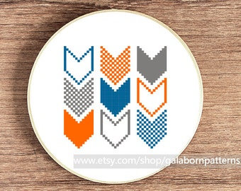 Modern cross stitch, PDF Counted cross stitch pattern, Geometric, Chevron 4, Cross stitch
