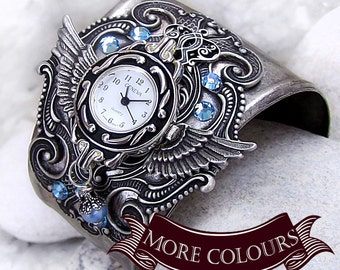 Steampunk Watches for men Gothic Watches for women Gothic Jewelry winged cuff watch bracelet steampunk wrist watch Wings gift for women