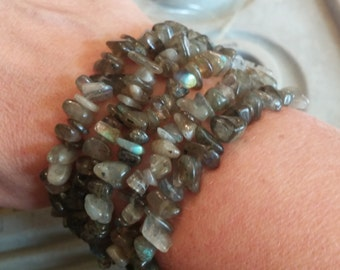 Genuine Labradorite Chip Bead Stretch Bracelets