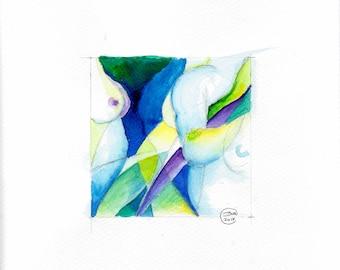 Blue Nude 10-nude-Watercolour-drawing-Aktgemälde-nude art-nude painting-Unique