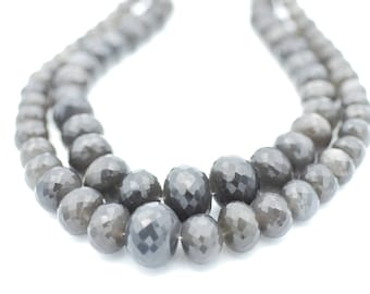Gray Moonstone Faceted Graduated Rondelles 10-20mm