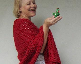 Best Friend Gift, Red Shawls, Crochet Shawl, Shawl Crochet, Red Shawl, Crocheted Shawls, Wraps Shawls, Mom Gift, Friendship Shawl