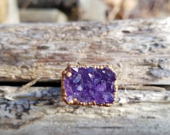 Amethyst and Electroformed Copper Ring Size 6.5