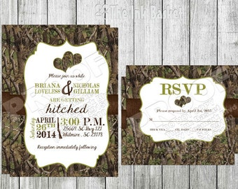 Camo Hearts Invitation and RSVP