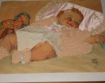 Hand Crafted BABY PLAYING an Original LITHOGRAPH Print By Maud Tausey Fangel