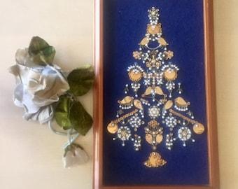 Vintage Beaded Christmas Tree- Embroidery - Home Decor - Christmas