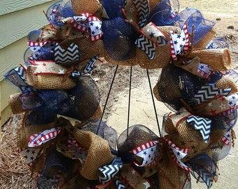 Patriotic wreath,  Mesh patriotic , Memorial Day wreath, 4th of July wreath, Labor Day wreath, red, white, blue