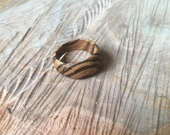 Zebra Wood Ring, one of a kind!