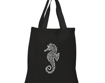 Small Tote Bag Created out of Popular Types of Seahorse