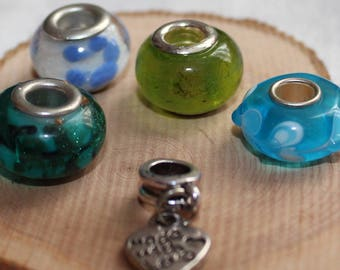LOT 5 European beads * copper/green/blue * for bracelets or necklaces charms