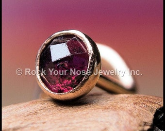 Rhodolite Garnet Rose Cut and Gold Nose Stud - 14K Solid Yellow Gold with Natural Rhodolite Garnet - CUSTOMIZE