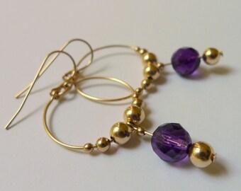 Gold-filled Amethyst Hoop Dangle Earrings