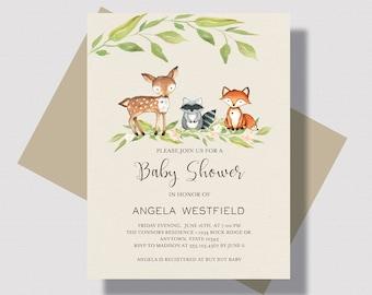 WOODLAND BABY SHOWER Invitation, Gender Neutral Woodland Animals Baby Shower Invitation, Forest Animal Baby Shower Invitation, Deer Fox Baby