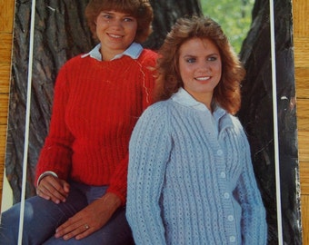 Women's Vintage Knit Sweater Patterns Textured Pullover and Cardigan Instant Download PDF Knitting Patterns Bouquet Knitted Sweater Pattern