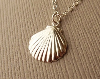 Silver Shell Necklace, Sterling Silver, Silver Sea Shell, Delicate Shell Necklace, Silver Seashell Necklace, Sterling Shell Necklace