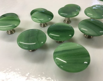 """1.5"""" Round Streaky Green Fused Art Glass Cabinet Pull or Drawer Knob"""