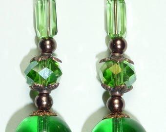 """""""green"""" Pearl copper earrings jewelry"""