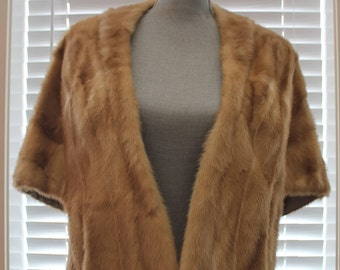 Vintage Mink Stole - Fur Cape - Authentic Blonde Mink Cape with Pockets - Vintage Fur