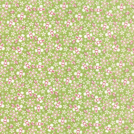 Corey Yoder Little Miss Shabby Green Prairie Ditsy Flower Quilt Fabric. Flowers Are White With Mauve Pink Details, 29002-17