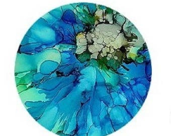 30mm, abstract, style blue arquarelle