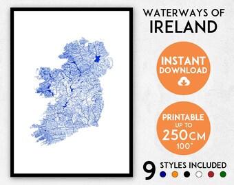 Ireland map print, Ireland print, Ireland poster, Ireland wall art, Map of Ireland, Ireland art print, Ireland map poster, Ireland gift