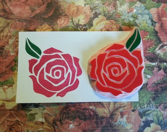 Rose Hand Carved Rubber Stamp