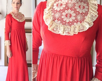 Vintage 60s High Collar Red and Lace Frilly Long Dress - Free Ship
