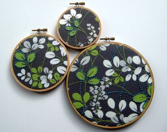 Hand Embroidered Leaves by mlmxoxo.  embroidered leaves.  leaf print.  leaf motif.  handmade.  rustic chic.  embroidery hoop art.