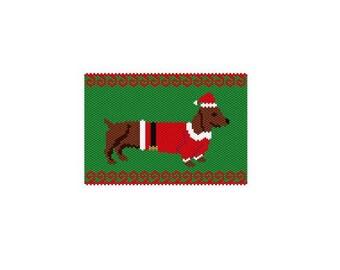 Christmas Weenie 2 Panel, Peyote/Brick PDF Pattern
