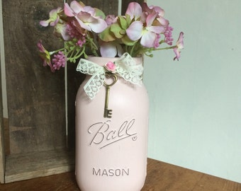 Hand Painted Distressed Mason Jar, Country Chic Design Pastel colours.