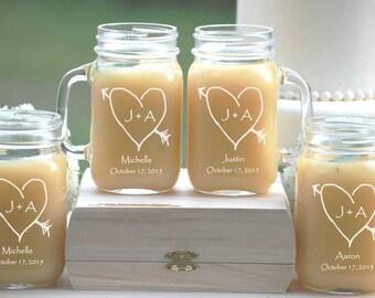 Mason Jar Gifts - 12 Wedding Party Drinking Glasses - Personalized Mason Jar Mugs - Groomsmen Gift, Bridesmaid Gift, Mason Jar Tumblers