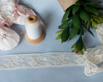 French Valenciennes Lace (LFV114EDG025) - 1 1/4 Edging