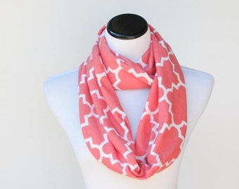Toddler scarf infant scarf Coral scarf infinity scarf quatrefoil coral white scarf,soft cotton jersey knit loop scarf circle scarf for girls