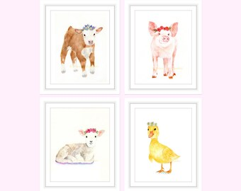 Flower Crown Farm Animals, Flower Crown, Flower Girl Gift, Farmhouse Decor, Nursery Wall Art, Set of 4 Prints, Farmhouse Wall Decor, Flower