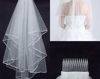 Bridal veil wedding veil bride veil wedding accessories white veil white bridal veil white wedding veil two layers bridal veil