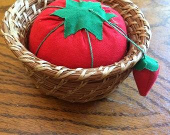 Pine Needle Basket Pin Cushion
