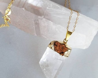 Quartz Chunk Necklace; Gold Quartz Necklace; Quartz; Sterling Silver; 18k Gold Plated