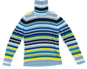 90's Chunky Ribbed Knit Striped Turtleneck Sweater L