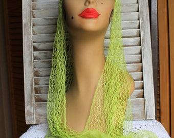 Vintage. Fishnet. Net. Scarf. Neon/green. Long. scarf. Cute!! 1960s/1970s.