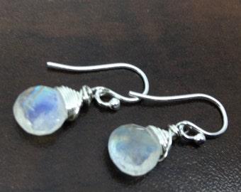 Rainbow Moonstone Earrings,  Birthstone Earrings, Genuine Rainbow Moonstone, Sterling Silver, June birthstone, Rainbow Moonstone Briolette