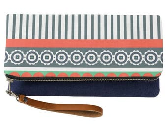 Indie Pattern Fold Over Striped Clutch