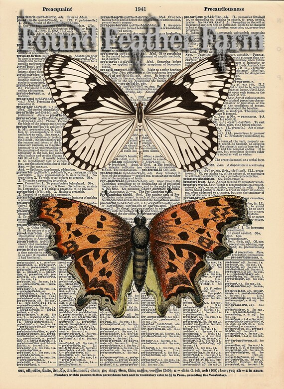 """Vintage Antique Dictionary Page with Antique Print """"Two Butterflies"""""""